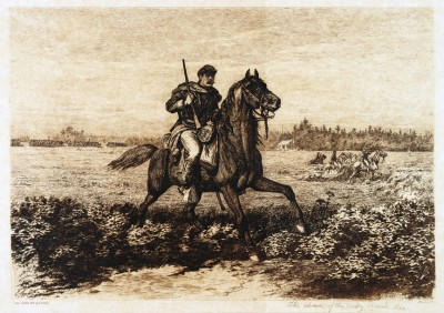 Civil War Cavalry etching