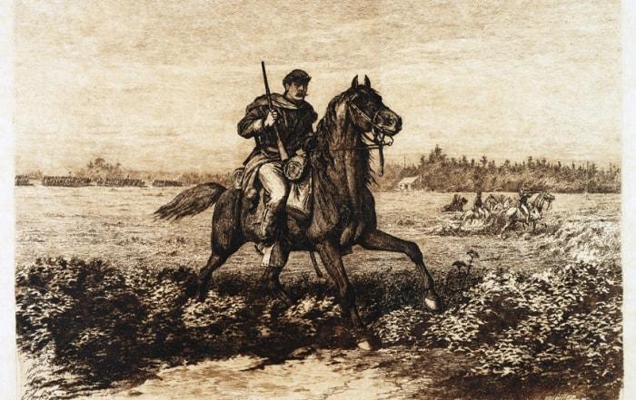 Civil War Cavalry etching