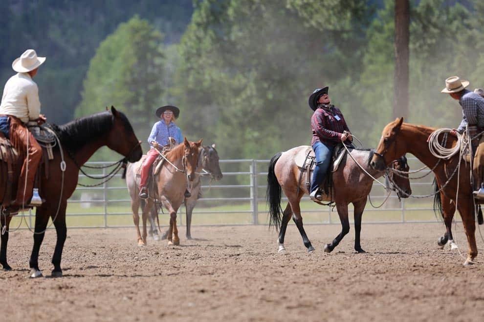 WARHorses_Having a ball herding cows, Buck Brannaman Montana 2016